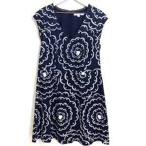 Boden Navy Blue & White Floral A-Line Dress Size12